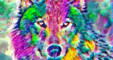 Wolf - colorful, art, yellow, cehenot, abstract, animal, green, painting, lup, wolf, pictura, pink, dog, blue