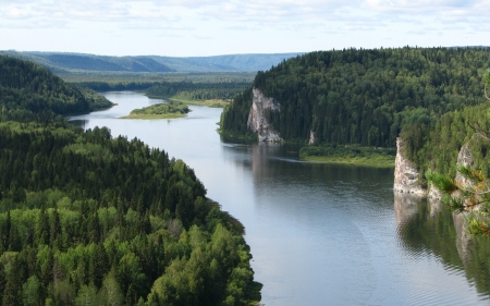 River in Russia - nature, river, Russia, rock