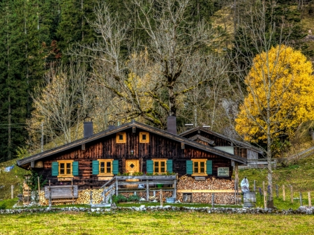 Hut on Autumn Forest - houses, forest, slope, trees, hut, nature, mountain, autumn