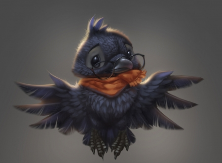 Baby crow - wings, orange, pasare, glasses, black, baby, silverfox5213, cute, fantasy, bird, scarf, crow