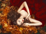 Laying in Autumn Leaves