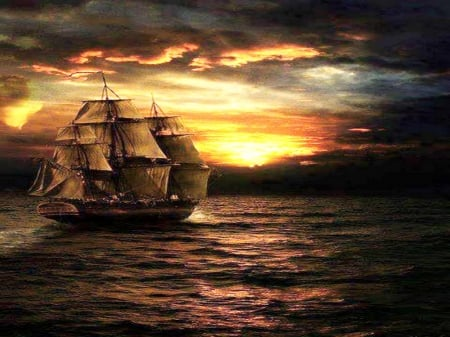 Into the sunset - ship, sails, sky, sunset