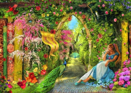 Summers Garden - girl, peacocks, painting, flowers, path, artwork