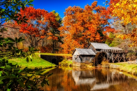 Mabry mill - fall, foliage, mill, beautiful, reflection, autumn, pond