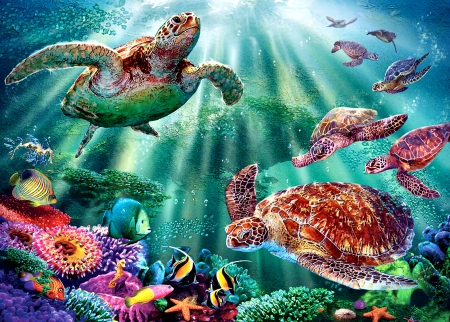 Turtle Bay F - art, turtles, illustration, sea, high seascape, fish, scenery, ocean, wide screen, beautiful, artwork, painting