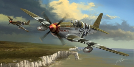P51 Flying Cadillacs - ww2, military, american, planes, flight, painting, war