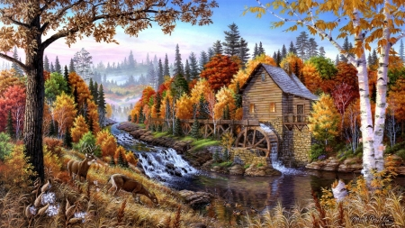 old mill in autumn - old mill, other, nature, autumn, painting