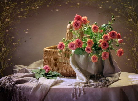 pink roses basket - still life, photography, abstract, pink roses, basket