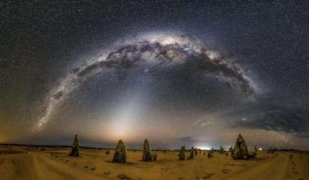 Milky Way and Zodiacal Light over Australian Pinnacles - stars, cool, space, fun, galaxies