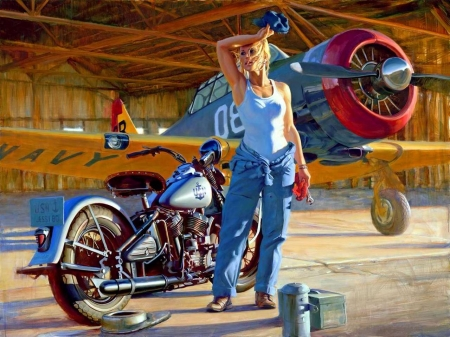 Hot Work - plane, blonde, motorbike, prop, us navy