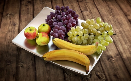 Fruits - table, grapes, fruits, apples, bananas