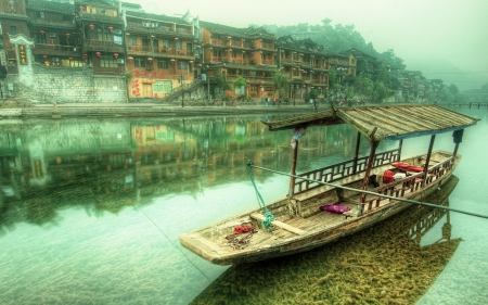 little boat - river, boat, house, china