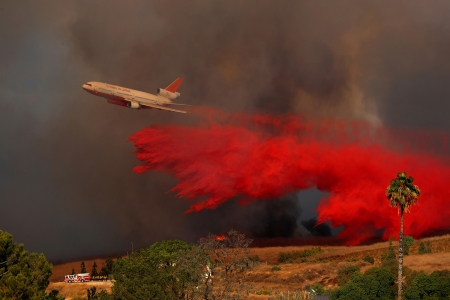 Fire retardant dropped on a California wildfire - USA, Aircraft, 9 October  2017, Orange, DC10, Wildfire, Wind driven, California, Fire retardant