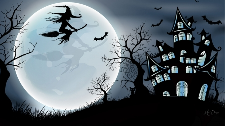 Spook House - witch, bats, haunted house, tree, moon, black cat, scary, Halloween, Firefox Persona theme