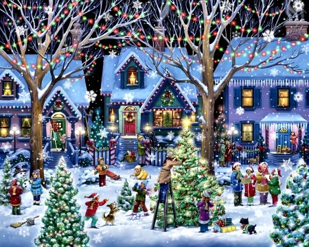 Christmas Cheer F2C - art, snow, illustration, holiday, winter, December, Christmas, scenery, occasion, wide screen, beautiful, artwork, painting