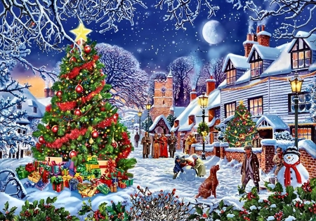 The Village Tree F1C - art, snow, illustration, holiday, winter, December, Christmas, scenery, occasion, wide screen, beautiful, artwork, painting