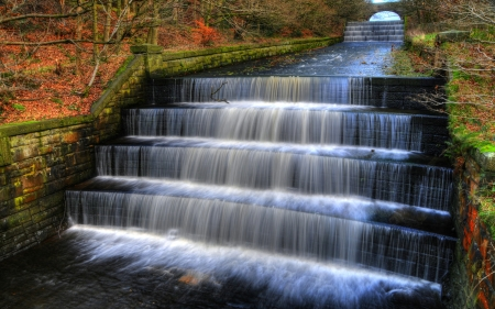 Water Cascade in English Park - fall, autumn, water, colors, creek, steps