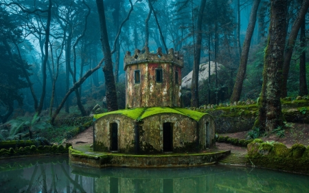 Hobbit's Castle - Sintra Portugal, Portugal, forest, tower, trees, Sintra, pond