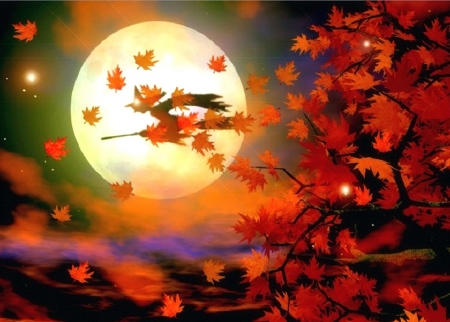 Halloween Witch Flight - paintings, attractions in dreams, witch, fantasy, autumn, moons, love four seasons, colors, leaves, fall season, digital art, halloween