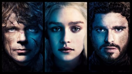 Game of Thrones (TV Series 2011– ) - rob stark, Richard Madden, game of thrones, black, man, collage, Emilia Clarke, Peter Dinklage, tyrion lannister, girl, actress, daenerys targaryen, face, princess, actor