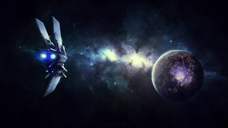 Nightcoming - planets, stars, fantasy, 3d, space, sci fi, spaceships