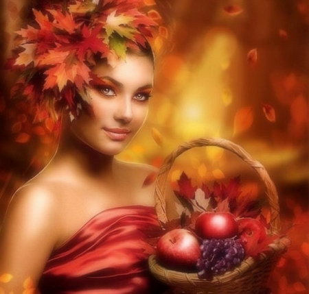 Lady in Autumn - colorful, fall season, autumn, fruits, love four seasons, attractions in dreams, creative pre-made, digital art, woman, leaves, fantasy, photomanipulation, basket, weird things people wear, forests