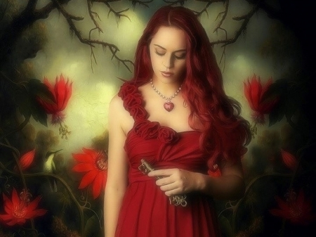 I'm one of your heart - red, redhead, love four seasons, attractions in dreams, creative pre-made, digital art, woman, key, fantasy, photomanipulation, weird things people wear, flowers, forests