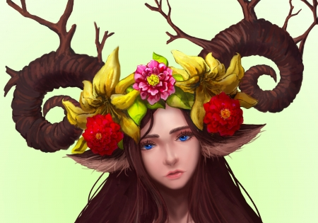 Fauna - red, luminos, brown, yellow, horns, ryung a kim, fantasy, fauna, girl, flower, face
