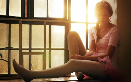 Ballerina relaxing - tights, sunlight, sitting on widow sill, pink costume, framed window, red hair, ring on finger