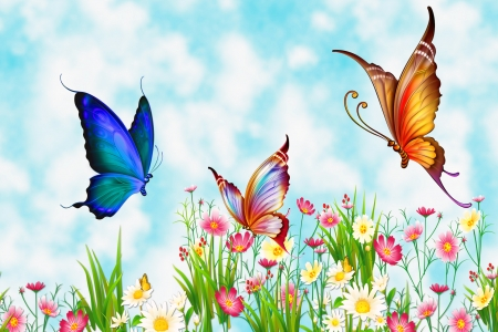 Flutter By Butterflies - Bright, Spring, Photoshop, Meadow, Butterflies