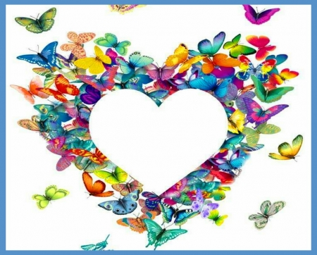 I love butterflies - color, wings, butterflies, heart