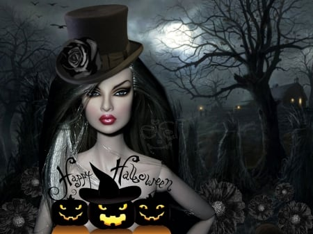 Halloween Beauty - Moon, Pumpkins, Eerie, Magical, Tree, Darkness, Top Hat
