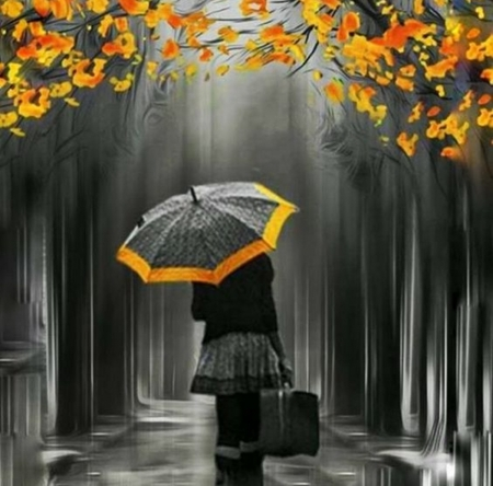 Autumn Rain - art, autumn, beauty, splash color, rain