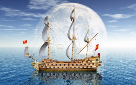 Great sailing ship - moon, cool, boat, ocean, fun, sailboat
