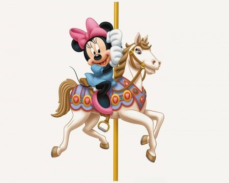 Minnie Mouse - minnie mouse, carousel, bow, white, pink, disney