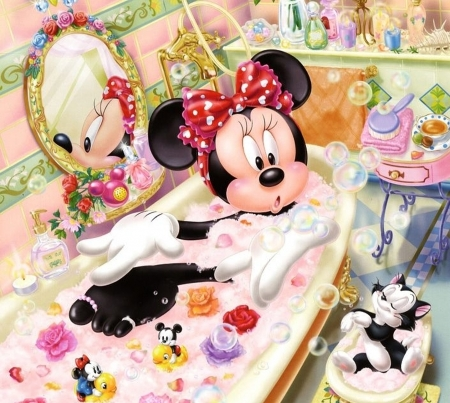 Minnie Mouse and Figaro - minnie mouse, figaro, bath, bow, cat, fantasy, animation, pink, disney, pisica