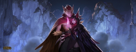 Xayah and Rahan - fantasy, rahan, game, xayah, pink, couple, league of legends, blue