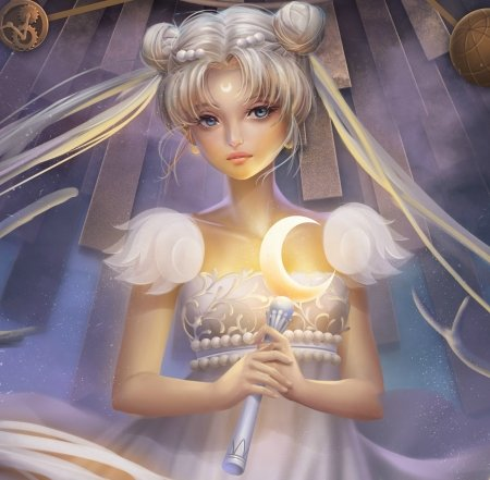 Moon Princess - pretty, white hair, adorable, sweet, nice, anime, royalty, sailor moon, beauty, anime girl, realistic, long hair, lovely, twintail, gown, serenity, crescent, white, maiden, dress, divine, beautiful, twin tail, magical girl, tsukino usagi, sailormoon, gorgeous, usagi, female, twintails, usagi tsukino, twin tails, princess serenity, tsukino, girl, silver hair, princess, lady