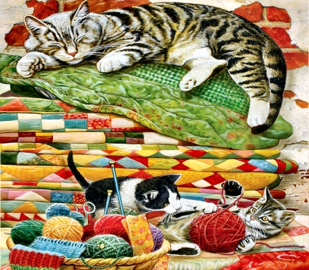 Mama's Sleeping -  Cats - cats, art, illustration, animal, pets, quilts, wide screen, feline, beautiful, artwork, painting