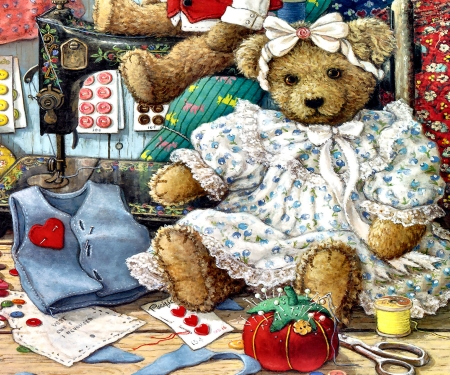 Bears and Bows F - art, beautiful, illustration, artwork, teddy bears, stuffed animals, painting, wide screen, toys