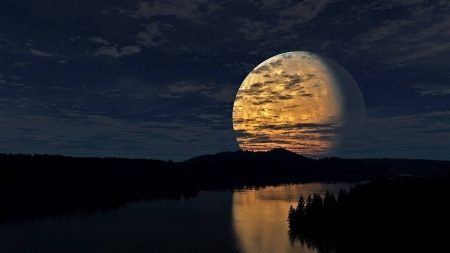 big moon over a river - fun, cool, moon, river, space