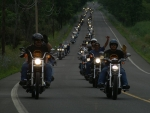 column of bikers
