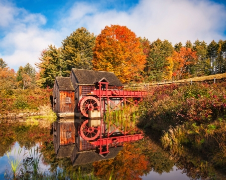 The Old Guildhall Gristmill, Vermont - watermill, trees, river, reflection, autumn