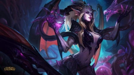 Zyra - wings, luminos, game, black, dragon, league of legends, zyra, sorceres, fantasy, girl, purple, bat, pink, blue