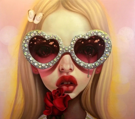 Crying hearts - art, luminos, rose, ed, blonde, sunglasses, fantasy, girl, heart, tears, flower, face, youg chun, portrait