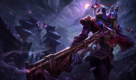 Blood Moon Jhin - fantasy, luna, blood moon, game, jhin, pink, league of legends, blue