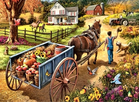 Bringing Home the Supper F1Cmp - architecture, equine, beautiful, illustration, artwork, canine, farm, painting, wide screen, scenery, art, planting, pets, horses, crops, landscape, dogs