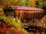 Covered Bridge in Autumn in Vermont