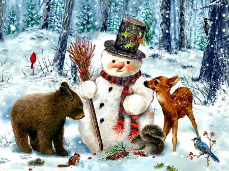 Snowman Gathering F - chipmunk, squirrel, bear, beautiful, illustration, artwork, deer, animal, painting, wide screen, art, songbirds, avian, wildlife, blue jay, nature, cardinal