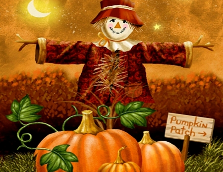 Pumpkin Patch - Scarecrow, Orange, Pumpkins, Abstract, Hat, Patch, Fantasy